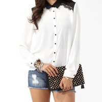 Eyelash Lace Panel Shirt