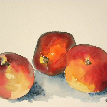 Peaches. Original watercolor painting.