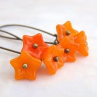 Tangerine Earrings - Czech glass flower beads in orange - Tangerine Tango Jewelry