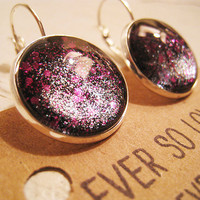 large round black dark purple sparkly metallic nickel free lever back silver earrings - summer nights and starry skies
