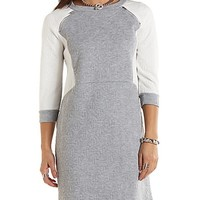 Quilted Zipper Trim Sweatshirt Dress - Heather Gray Combo