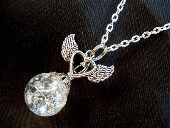 Winged Heart Crystal Crackle Glass Marble Necklace