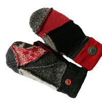 RESERVED for Chantal - WOOL Sweater MITTENS - Funky Hippie Style by Sweaty Mitts - Women's Recycled Patchwork Red Black Gray Boho Chic plaid