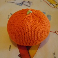Knitted Orange Baby Rattle on Luulla