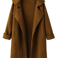 Brown Lapel Long Sleeve Knit Coat
