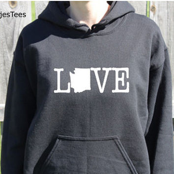 Love Washington Hoodie, Washington Sweatshirt, Home