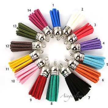Tassels 38mm x 10mm Silver Top Faux Leather Tassels Suede Charms, Pendants, Accessories