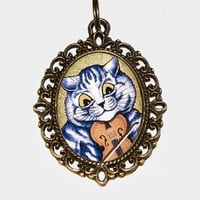 Violin Cat Necklace, Cat Jewelry, Musical Cat, Violin Jewelry, Cats, Oval Pendant