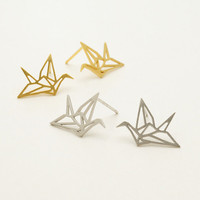 Origami Crane Stud Earrings / folded paper crane earrings, bird earrings, paper cranes earrings / E089
