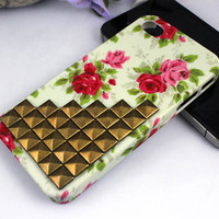 Studded iPhone 4 Case, iPhone 4s Case, Studded Floral iPhone Case