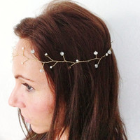 Gold Boho Grecian Pearl Bridal Wedding Head Wreath Crown