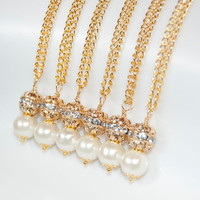 Gold Wedding bridesmaid gift necklaces with Swarovski gold filigree and Ivory glass pearl