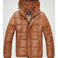Concise Mens Brown Faux Leather Hoody Coat S/M/L/XL @M06BR