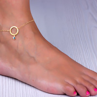 "Gold anklet, infinity ankle bracelet, evil eye anklet, best friend anklet, bridesmaid jewelry, double anklet, love anklet, eternity, ""Peuce"""