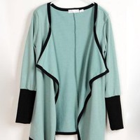 Green Cardigan Cape Long Sleeved Outerwear$38.00