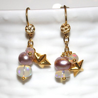 Tiny Star Charm Blush Pearl Ethiopian Opal Rondelle Gold Vermeil Dangle Earrings Fizz Candy