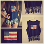 Repurposed Fringed Navy American Flag Tank / Shirt / Summer / Women&#x27;s