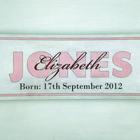 Personalized Birth and Name Sign 18x5 3/4 Inch