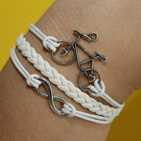 Infinity Wish karma little bicycle Bracelet silver bracelet white wax cords,braided white leather bracelet