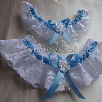 Lace garter, Blue Ribbon/ lace/organza garter set, Bridal garter set