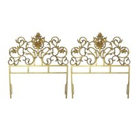 Pre-owned Gold Cast Iron Headboards, Twin - A Pair