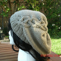 Hand Knit Hat - The Cableret in Taupe - Womens Hat - Womens Accessories - Fall Acessories - Winter Accessories
