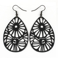 333560-EE63530-007-Matte Black Tribal Teardrop Earrings
