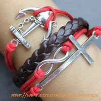 silvery cross bracelet love bracelet anchor bracelet brown leather bracelet gift charm bracelet  -N588