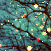 "Abstract Dreamy Tree Photograph ""Fairy Lights"" Fine Art Fairy Tale Print - Bokeh Blur Glowing Tree Fairy Lights Winter Woodland"