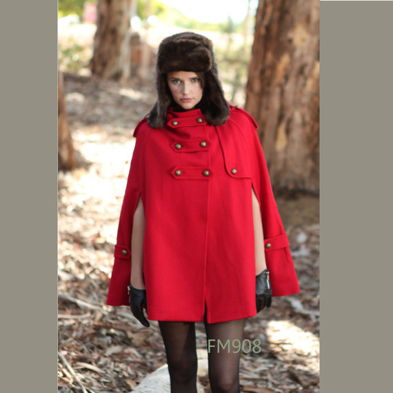 RED cape Wool Cape Cashmere coat RED coat double breasted button coat winter coat Hood cloak Hoodie cape Hooded Cape/ FM003C