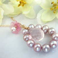 Pink rose quartz rose pearl cherry blossom necklace