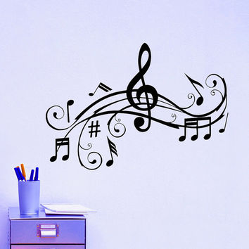 vinyl wall decals music note notes waves from wisdomdecals on. Black Bedroom Furniture Sets. Home Design Ideas