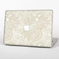 The Tan & White Vintage Floral Pattern Skin Set for the Apple MacBook Air 13""
