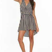 A'GACI S/S Splitneck Stripe Shirtdress - DRESSES