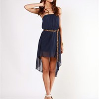 A'GACI Chiffon Hi-Lo Dress W/ Chain Belt - DRESSES