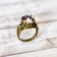 Flower Leaf Engraved Ring With Full Moon Cabochon - Full Moon Jewelry - Resin Ring - Space Jewelry