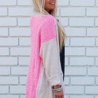 Oversized Beige Knit Cardigan with Neon Pink Back