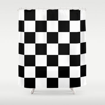 Black And White Checks Shower Curtain by KCavender Designs