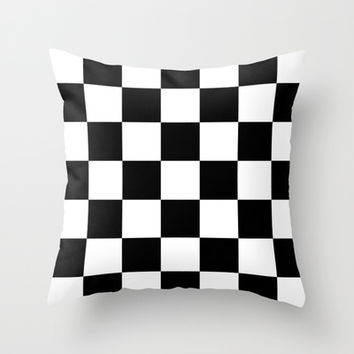 Black And White Checks Throw Pillow by KCavender Designs