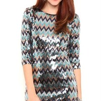 Short Chevron Sequin Dress with Three Quarter Length Sleeves