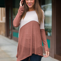 Sloped Duo Top, Blush/Chestnut