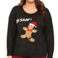 Plus Size Long Sleeve Gingerbread Holiday Sweater with Oh Snap Screen