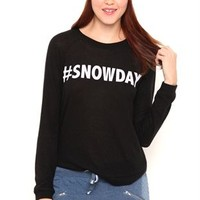 High Low Crossover Hem Soft Knit Top with Snowday Screen
