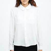 Cooperative Curved Collar Shirt in White - Urban Outfitters