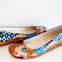 Blond Girl Flats - Hand Painted Shoes