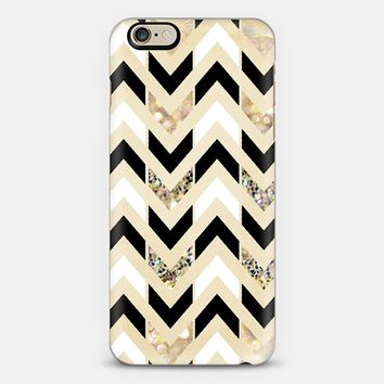 Black, White & Gold Glitter Herringbone Chevron iPhone 6 case by Tangerine- Tane | Casetify
