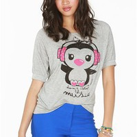 A&#x27;GACI Dot Headphone Penguin Dolman - TOPS