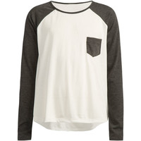 Full Tilt Contrast Pocket Girls Raglan Tee White/Grey  In Sizes