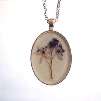 Floral necklace - Real flower necklace - Alpine squill flower - Pressed flower jewelry - Botanical pendant - Blue flower - Oval silver