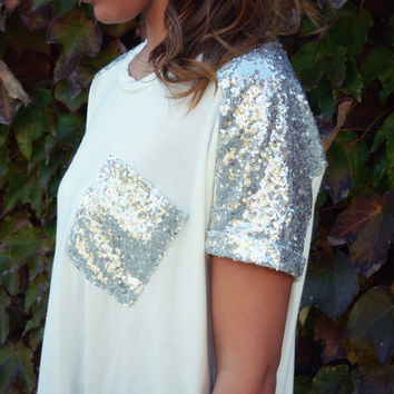 Holiday Frost Ivory Sequin Pocket Tee